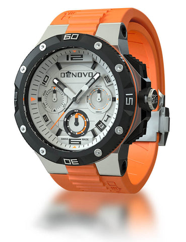 DeNovo DN2020-24WOO Men's Orange Swiss Made Chrono Watch Rubber Strap White Dial