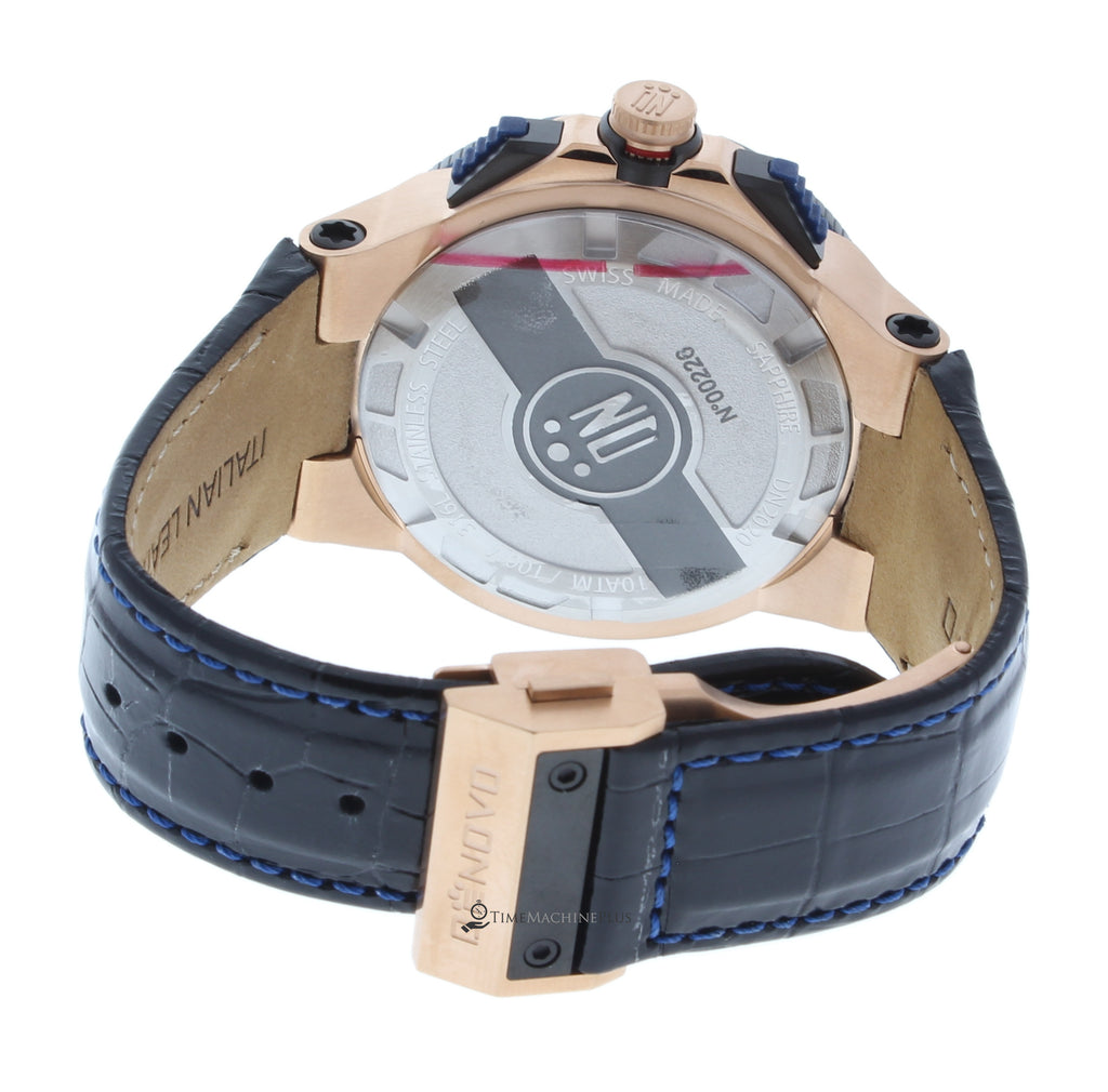 DeNovo DN2020-42BGN Men's Watch Rose Gold PVD Case Chrono Black Italian Leather Swiss Made