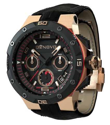 DeNovo DN2020-42NGN Men's Watch Black Italian Leather Strap Rose Gold Case Swiss Made Chronograph