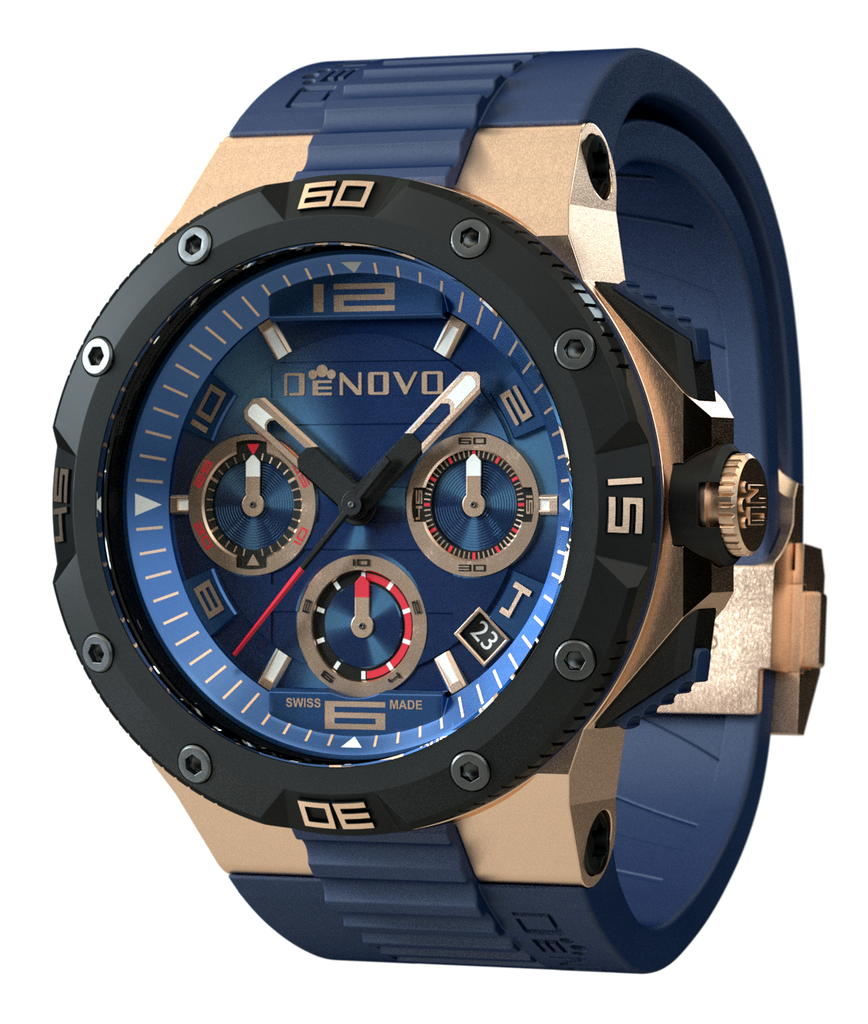 DeNovo DN2020-44BGB Men's Rose Gold & Blue Swiss Made Italian Watch Chronograph Rubber Strap
