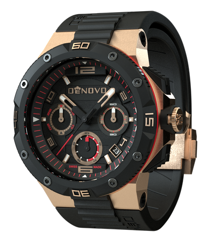 DeNovo DN2020-44NGN Men's Rose Gold & Black Swiss Made Italian Watch Chronograph Rubber Strap