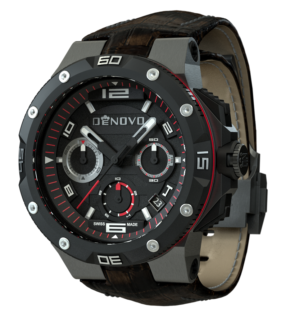 DeNovo DN2020-82NRM Men's Watch Gunmetal Chrono With Brown Italian Leather Strap Black Dial