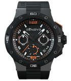 DeNovo DN2020-84NON Men's Watch Gunmetal Case Black Dial Orange Accents Black Rubber Strap