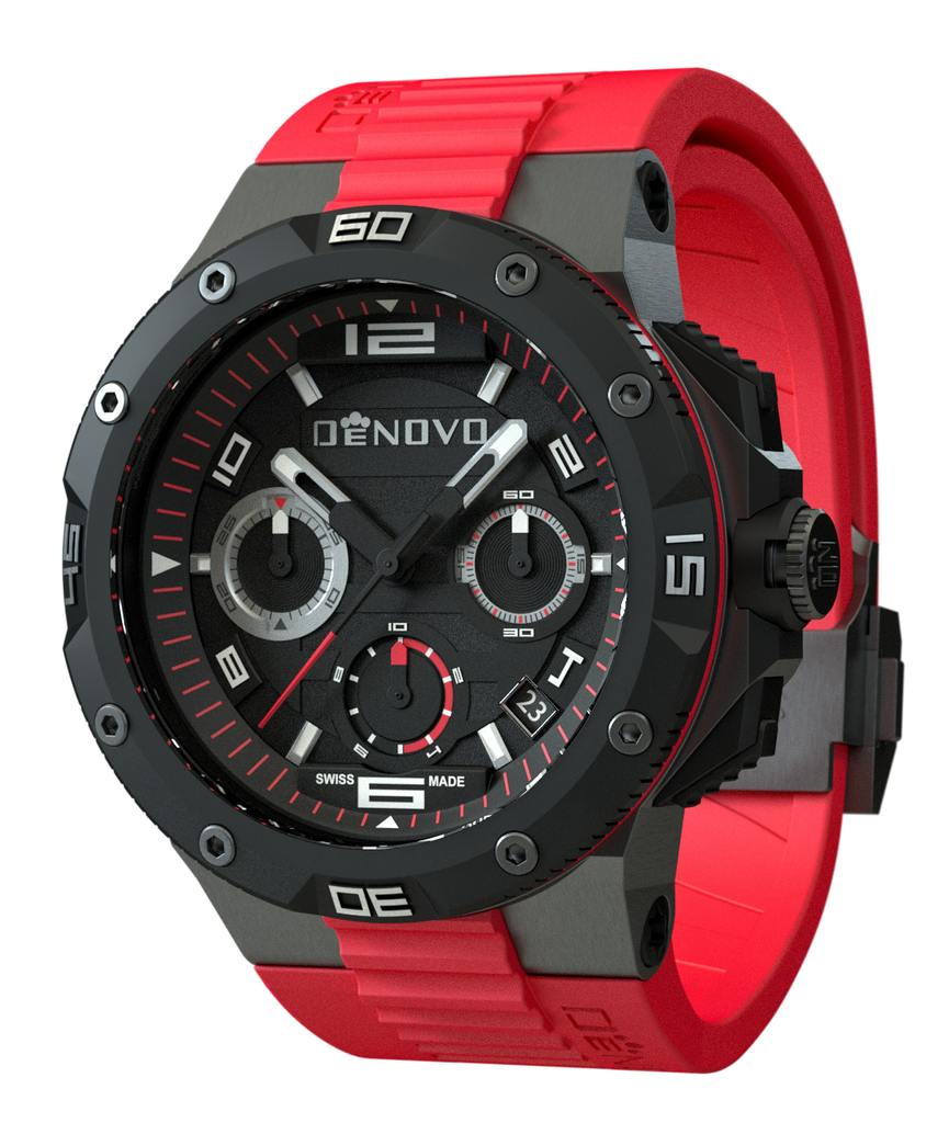 DeNovo DN2020-84NRR Men's Watch Black Dial Swiss Made Chronograph Sporty Red Rubber Strap