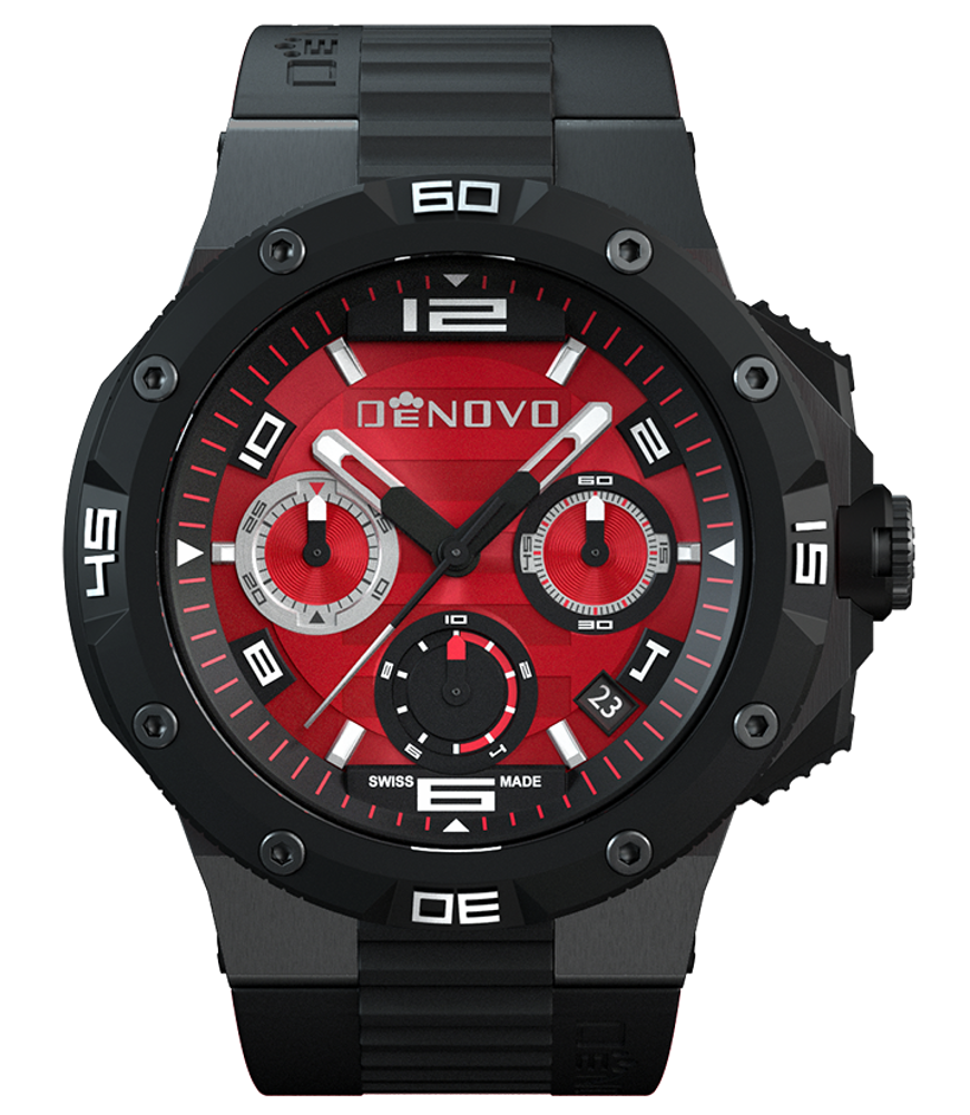 DeNovo DN2020-84RNN Men's Watch Gunmetal Case Red Dial Swiss Made Black Rubber Strap