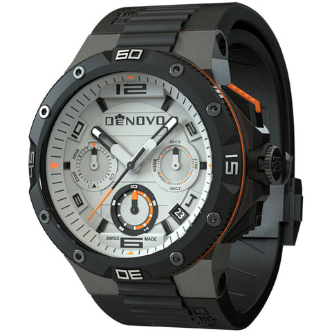 DeNovo DN2020-84WON Men's Watch Swiss Made Gunmetal Case Black Rubber Strap Chronograph
