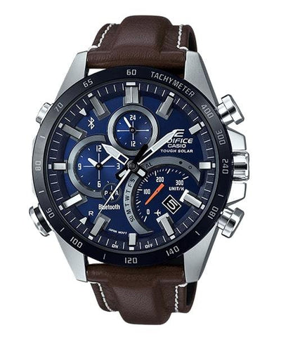 EDIFICE Casio Smartphone Link Brown Leather Strap Solar Men's Watch EQB501XBL-2A