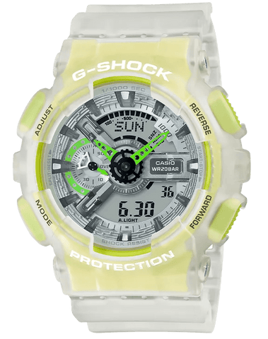 G-Shock Analog-Digital Translucent Lime Green-Clear Men's Watch GA110LS-7A
