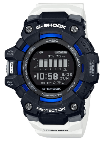 G-Shock Digital Fitness White-Black Bluetooth Pedometer Men's Watch GBD100-1A7