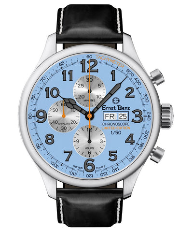 Ernst Benz Limited Edition CR1 ChronoScope ChronoRacer 47mm Blue Dial Men's Watch GC10100/CR1