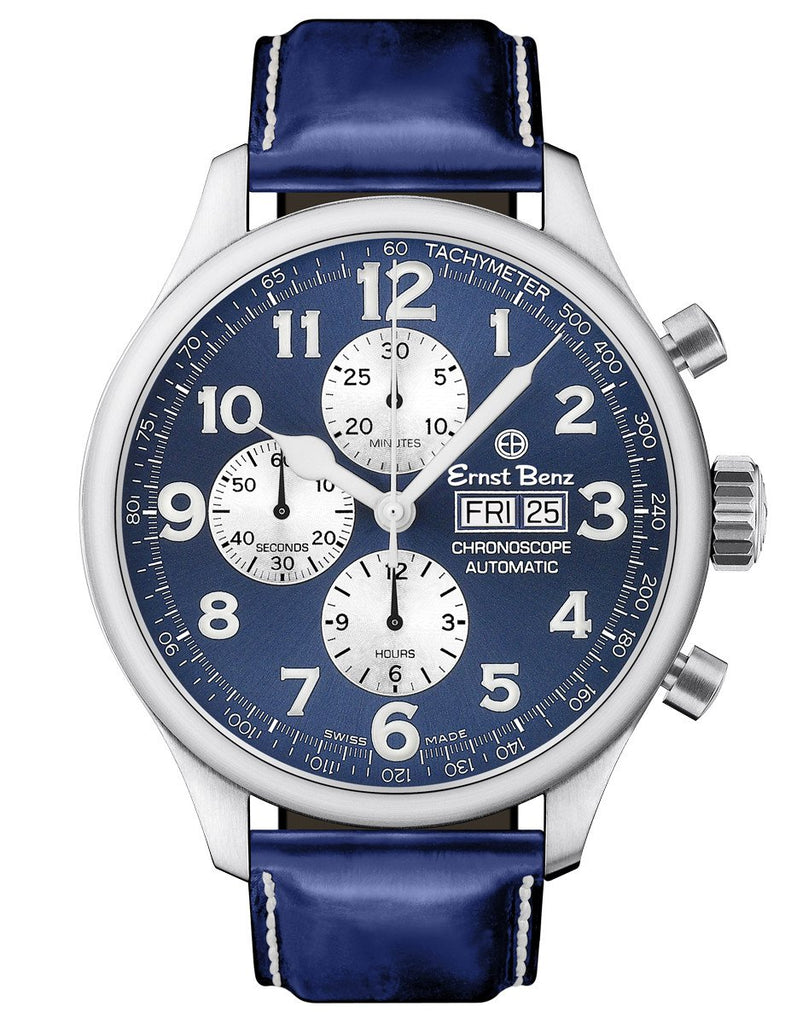 Ernst Benz ChronoScope 47mm Automatic Swiss Chronograph Blue Dial Blue Leather Band Men's Watch GC10114