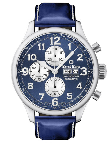 Ernst Benz GC10114 Men's Blue 47mm Automatic Watch Traditional ChronoScope Blue Dial Blue Classic Leather Strap