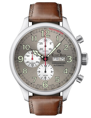 Ernst Benz GC10115 Men's Brown 47mm Automatic Watch Traditional ChronoScope Slate Gray Dial Brown Classic Leather Strap Chronograph