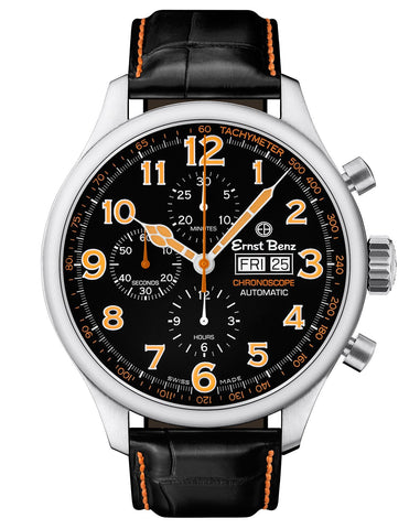 Ernst Benz Chronoscope 47mm Black - Orange Classic Alligator Strap Men's Watch GC10116