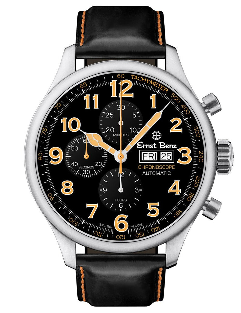 Ernst Benz GC10116 Men's Black/Orange Automatic Watch 47mm Traditional Chronograph