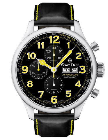 Ernst Benz Chronoscope 47mm Black - Yellow Chronograph Men's Watch GC10117