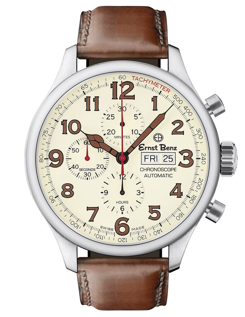 Ernst Benz Chronoscope 47mm Automatic Parchment Dial Brown Leather Band Men's Watch GC10118