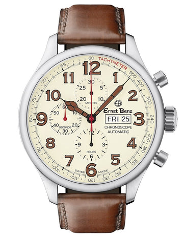 Ernst Benz GC10118 Mens Automatic Swiss Made Watch 47mm Off-White Dial Chrono Brown Classic Leather Strap