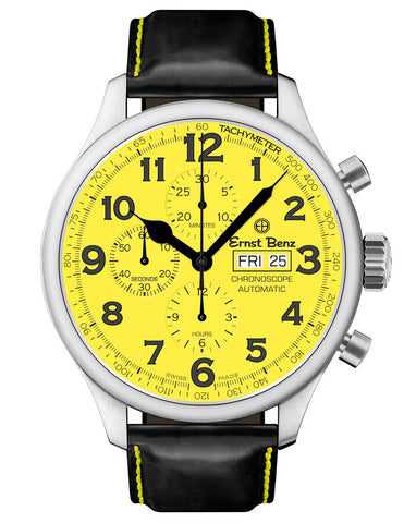 Ernst Benz GC10119 Mens Watch Yellow Dial 47mm Traditional Chronograph Black Handmade Strap