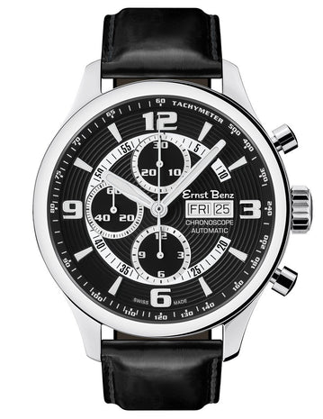 Ernst Benz GC10121 Mens Watch Chronoscope Contemporary 47mm Black Dial
