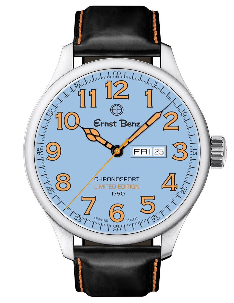 Ernst Benz GC40200/CR2 Men's Limited Edition Watch ChronoRacer 44mm Orange Numerals Blue Dial