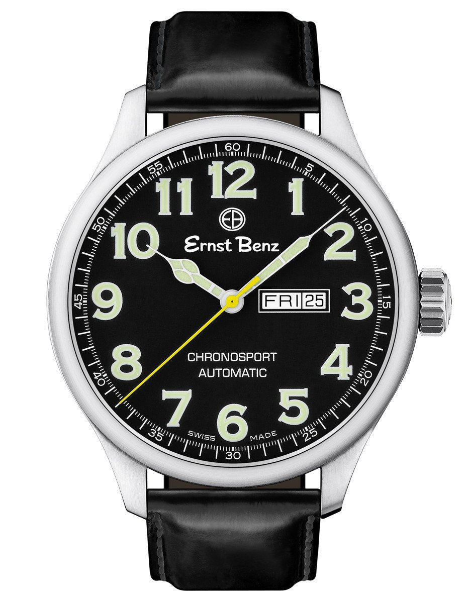 Ernst Benz Chronosport 47mm Black Dial Green Numeral Markers Men's Automatic Watch GC10211