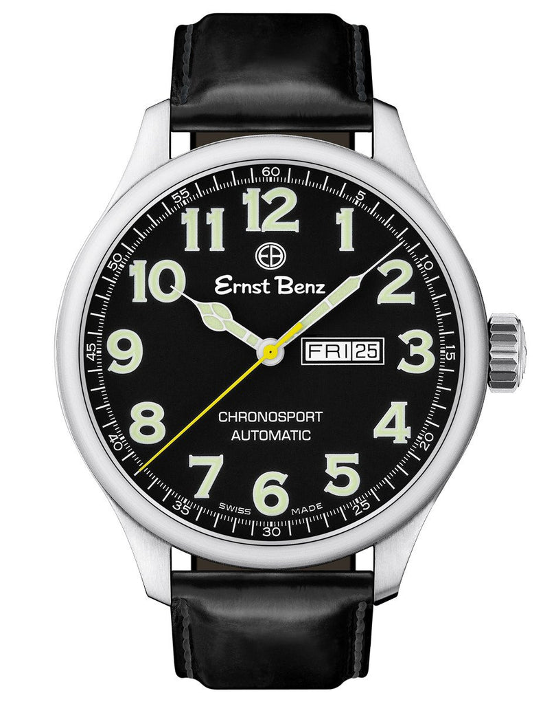 Ernst Benz GC10211 Mens Black Traditional Watch 47mm Automatic Chronosport Black Dial