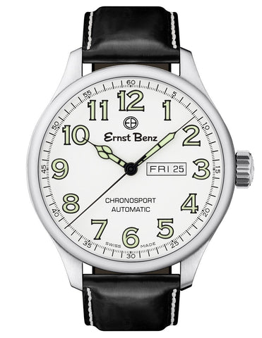 Ernst Benz GC10212 Mens Watch White Dial Green Luminous Numeral 47mm Automatic Chronosport