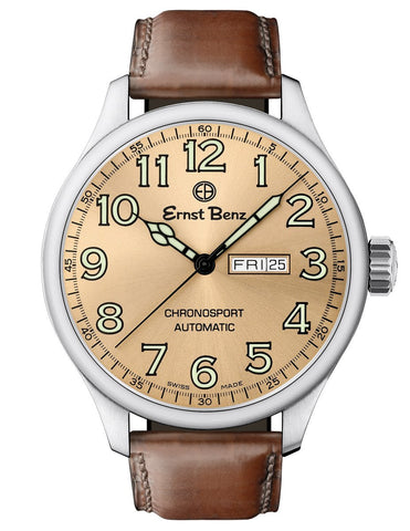 Ernst Benz GC10213 Mens Automatic 47mm Watch Copper Dial Green Luminous Numerals