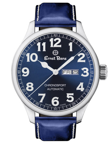 Ernst Benz Chronosport 47mm Blue Dial White Numerals Automatic Men's Watch GC10214