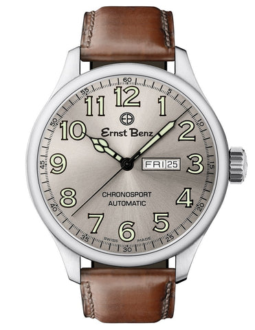 Ernst Benz GC10215 Mens Automatic 47mm Watch Grey Dial Green Luminous Numerals