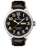 Ernst Benz Chronosport Orange Numerals Black Leather Band 47mm Men's Automatic Watch GC10216