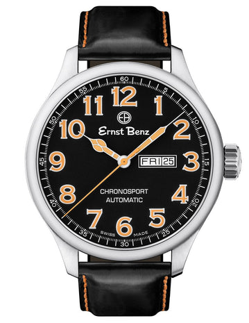 Ernst Benz GC10216 Mens Black Orange 47mm Automatic Watch Traditional