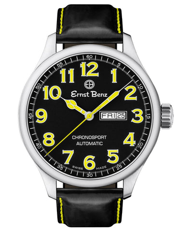 Ernst Benz Chronosport Automatic Yellow Numerals Black Dial 47mm Men's Watch GC10217