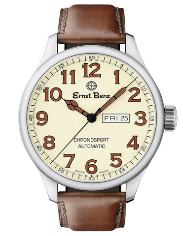 Ernst Benz Chronosport Parchment Dial Brown Leather Band 47mm Men's Automatic Watch GC10218