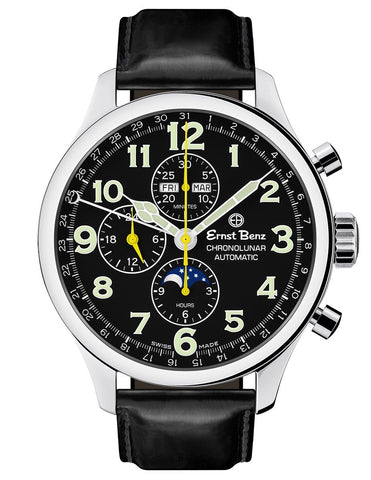 Ernst Benz GC10311 Men's Automatic Watch 47mm ChronoLunar Black Dial Black Matte Leather Strap Swiss Made