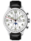 Ernst Benz GC10312 Mens Automatic Watch 47mm ChronoLunar White Dial Black Matte Leather Strap Swiss Made