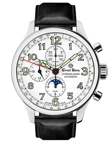 Ernst Benz GC10312 Men's Automatic Watch 47mm ChronoLunar White Dial Black Matte Leather Strap Swiss Made