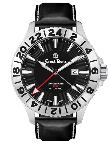 Ernst Benz Chronoflite GMT Automatic ETA Rotating Bezel Black Dial 47mm Men's Watch GC10521