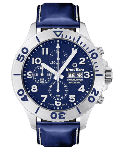 Ernst Benz GC10724 Mens Chronodiver Swiss Made Watch Blue Dial Rotating Bezel