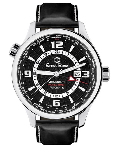 Ernst Benz Chronoflite World Timer GMT Black Dial 47mm Men's Watch GC10851