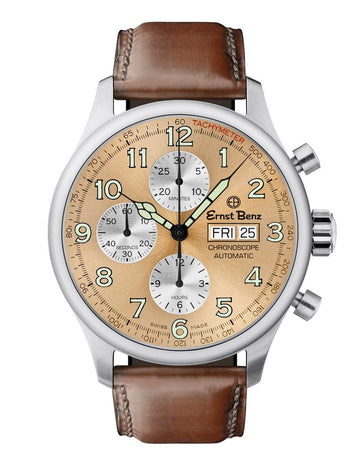 Ernst Benz GC40113 Unisex Brown 44mm Automatic Watch Traditional ChronoScope Copper Sunburst Dial