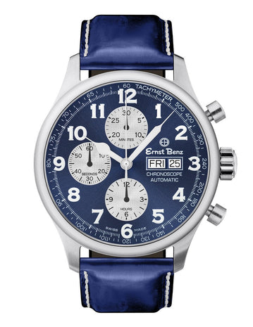 Ernst Benz GC40114 Unisex Blue 47mm Automatic Watch Traditional ChronoScope Blue Dial Blue Classic Leather Strap