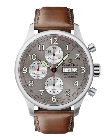 Ernst Benz Chronoscope Chronograph 44mm Brown Leather Band Automatic Men's Watch GC40115