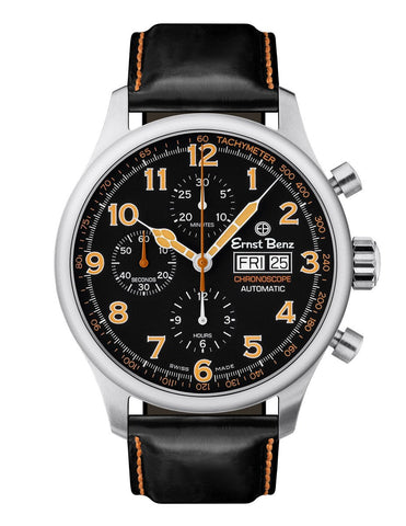 Ernst Benz Chronoscope 44mm Black - Orange Chronograph Men's Watch GC40116