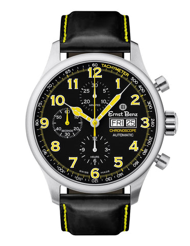 Ernst Benz Chronoscope 44mm Black - Yellow Chronograph Men's Watch GC40117