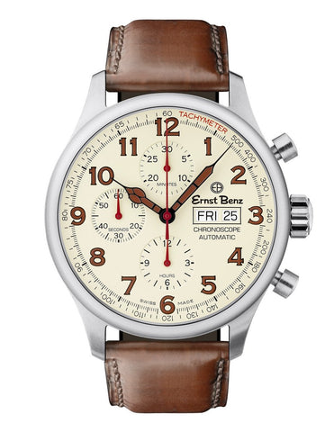 Ernst Benz Chronoscope 44mm Brown Leather Strap Chronograph Men's Watch GC40118