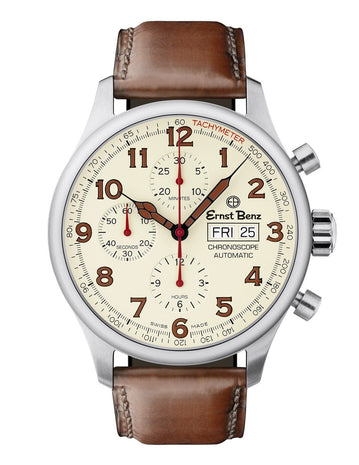 Ernst Benz GC40118 Unisex Automatic Swiss Made Watch 44mm Parchment Dial Chrono Brown Classic Leather Strap