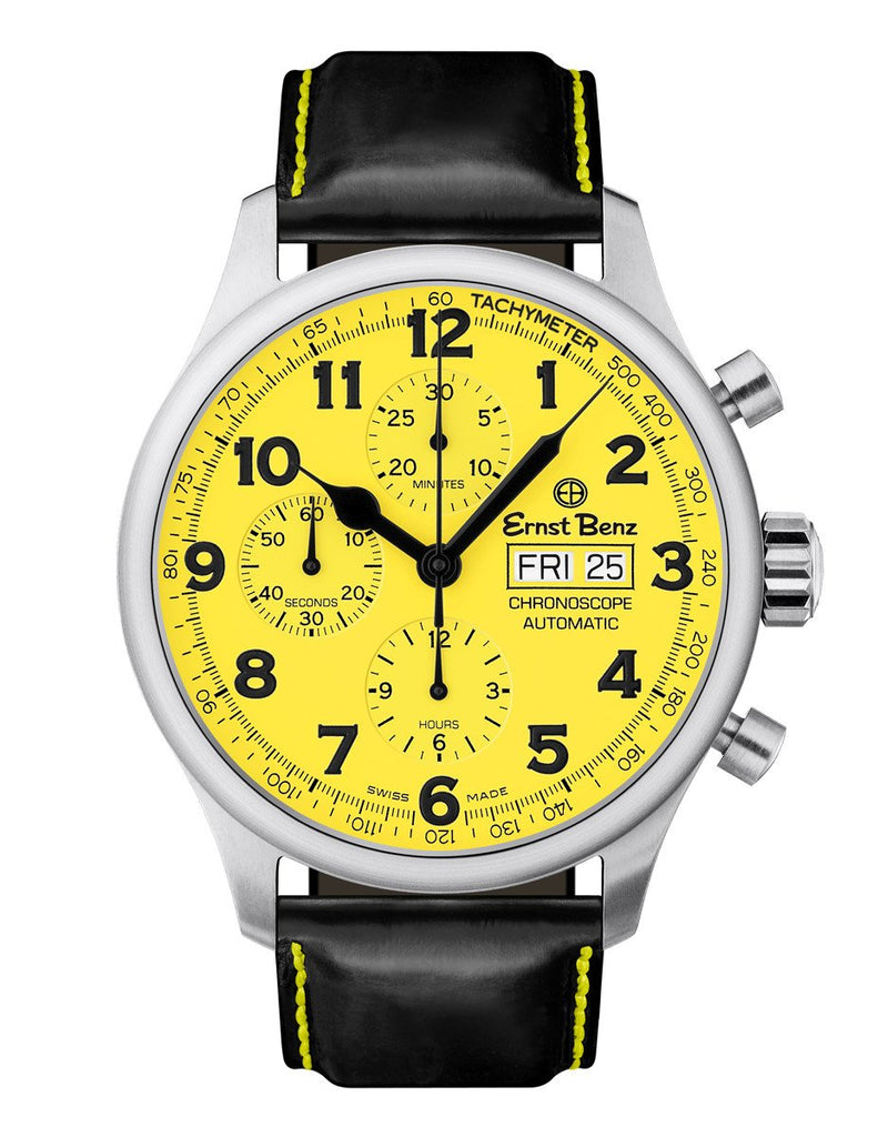 Ernst Benz Chronoscope 44mm Yellow Dial Chronograph Men's Watch GC40119