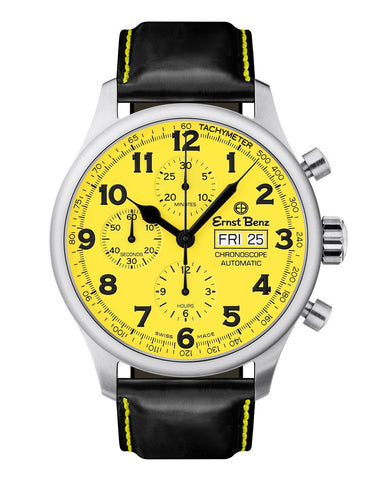 Ernst Benz GC40119 Unisex Watch Yellow Dial 44mm Traditional Chronograph Black Handmade Strap